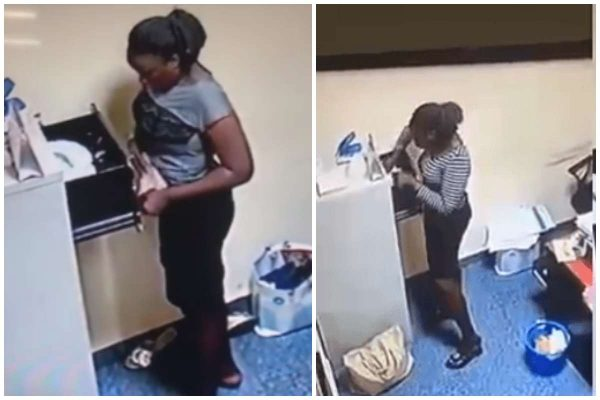 [Video]: CCTV exposes Yabatech student as she stole N500k from her boss