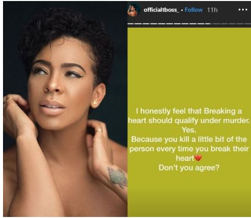 Any one who breaks another's heart is a murderer. Tboss