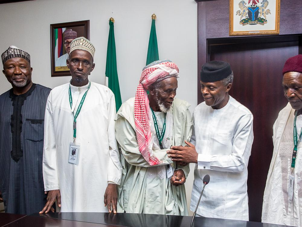 VP Osinbajo meets Imam who saved 300 lives escaping death at the hands of bandits in Plateau