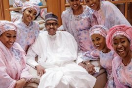 President Buhari pictured with his beautiful family