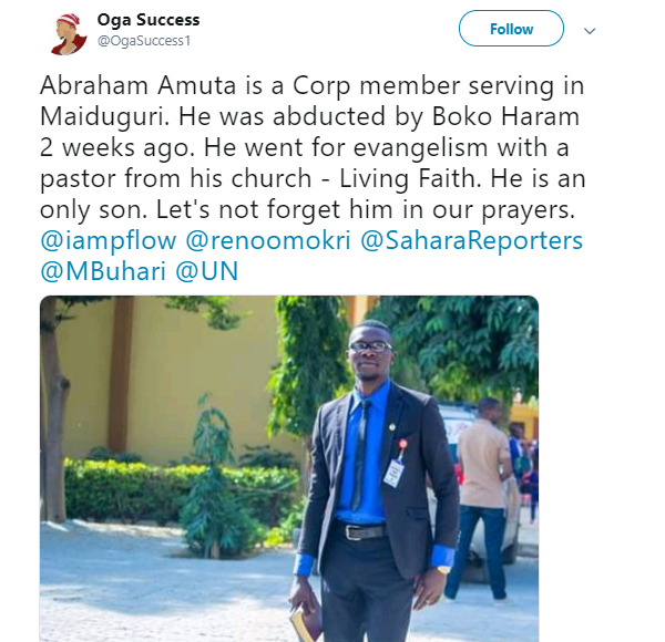 Boko Haram kidnaps corp member in Borno state