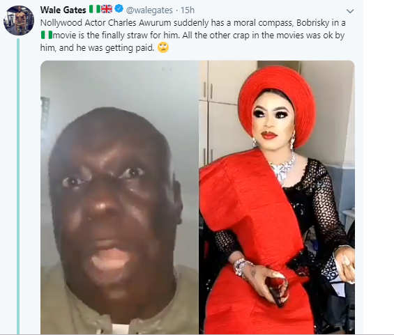 Comedian Wale Gates drag actor Charles Awurum for slamming Bobrisky