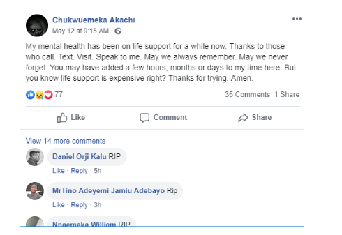 Sad! Nigerian poet commits suicide hours after leaving suicide note on Facebook