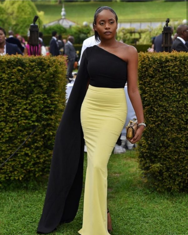 """20190523 143149 600x751 - """"How you show up to your cousin's wedding"""" – Kiki Osibanjo Steps Out In Black and Yellow Tailored Outfit"""