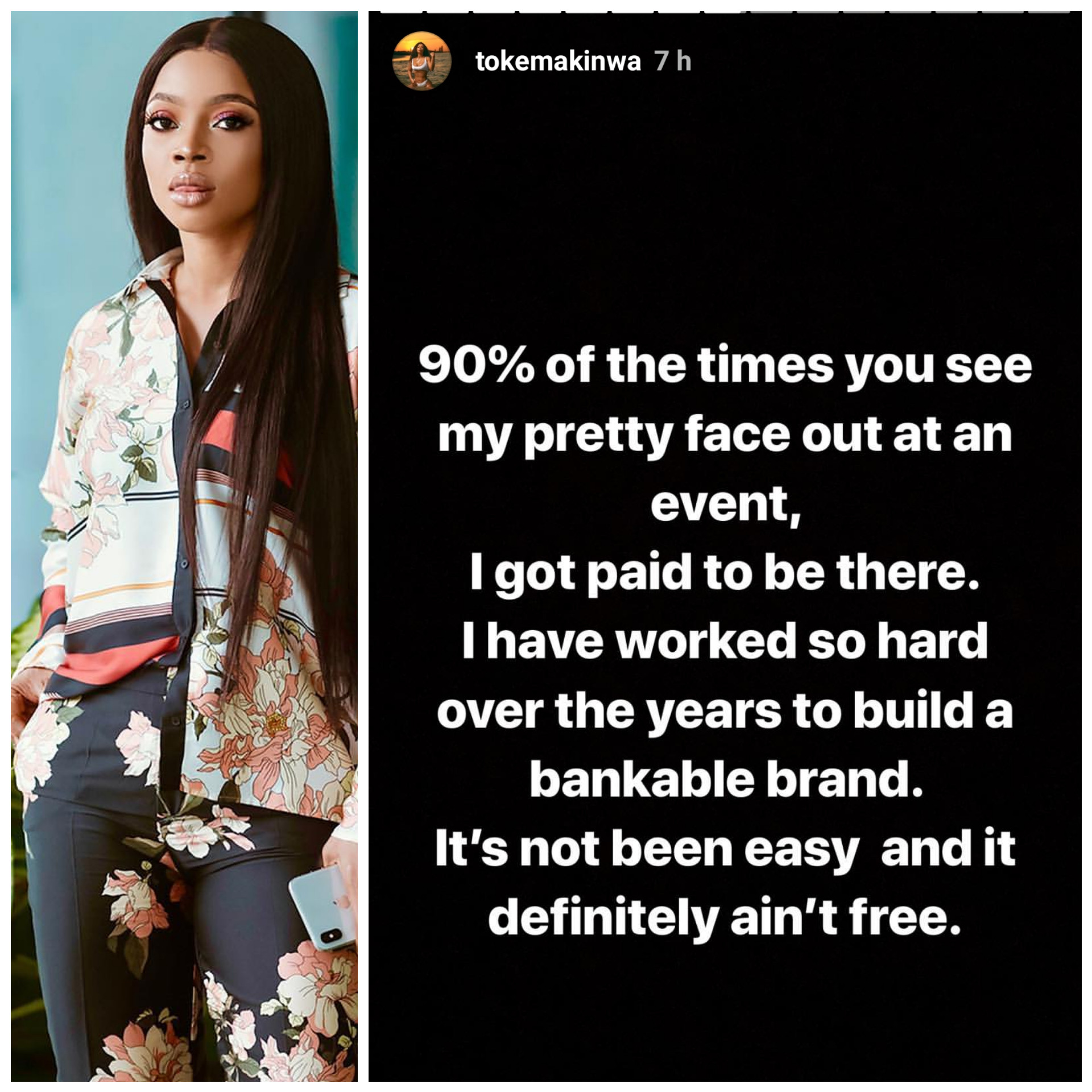 'I get paid to take my pretty face to events' - Toke Makinwa