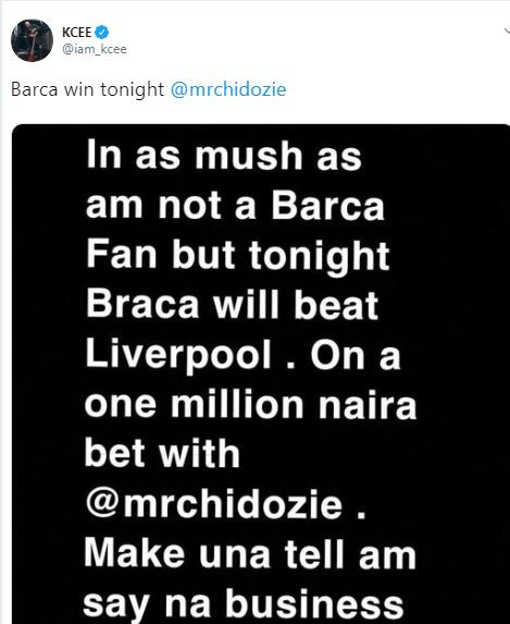 Kcee loses N1million bet following Barcelona's loss to Liverpool