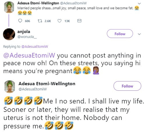 5cdfb3969fccd - 'Very soon people will realize my uterus is not their home' – Adesua Etomi
