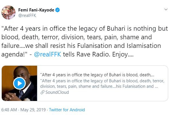5cee221e92f3c - 'Buhari's legacy is one of blood, death and terror' – Femi Fani-Kayode