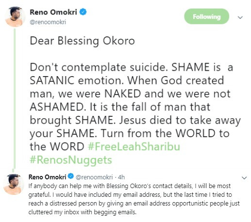 5cefae3c52270 - 'Please do not end your life' – Reno Omokri pleads with lying relationship blogger