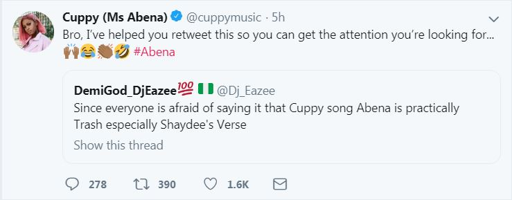 9499817 djcuppy jpega341399a63a70418b7b3058ac5235dd9 3 - DJ Cuppy Savages Troll Who Said Her Song Is Trash