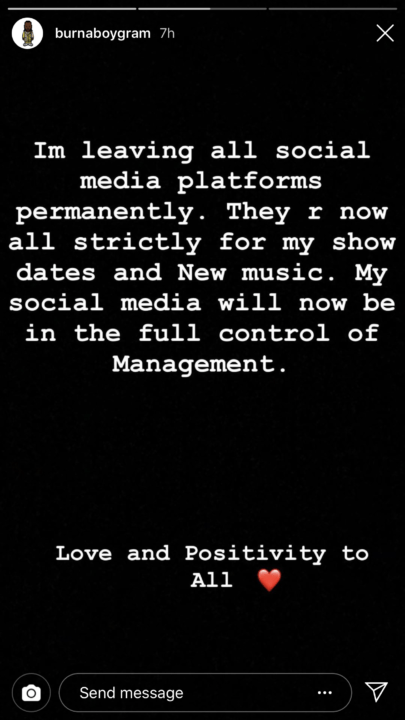 'I am leaving all social media platforms permanently' - Burna Boy