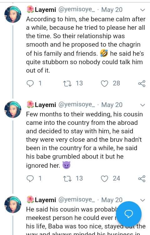 Screenshot 20190521 1533122 - Man Cancels Wedding After Fiancee Pours Hot Oil On His Cousin