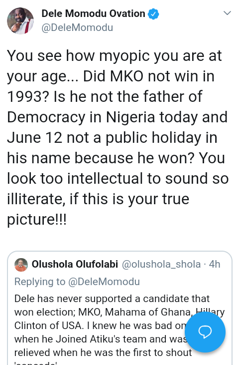 Screenshot 20190522 1619152 - 'You look too intellectual to sound so illiterate' – Dele Momodu fires troll