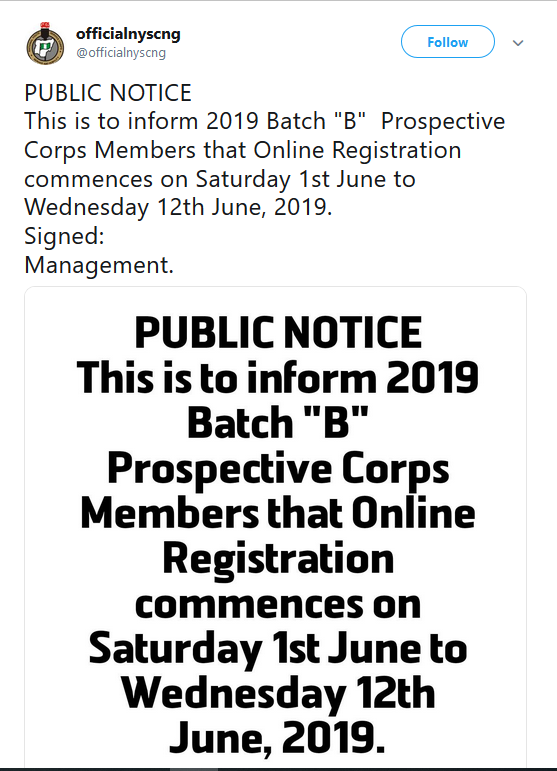 NYSC Sets A New Date for 2019 Batch B Registration