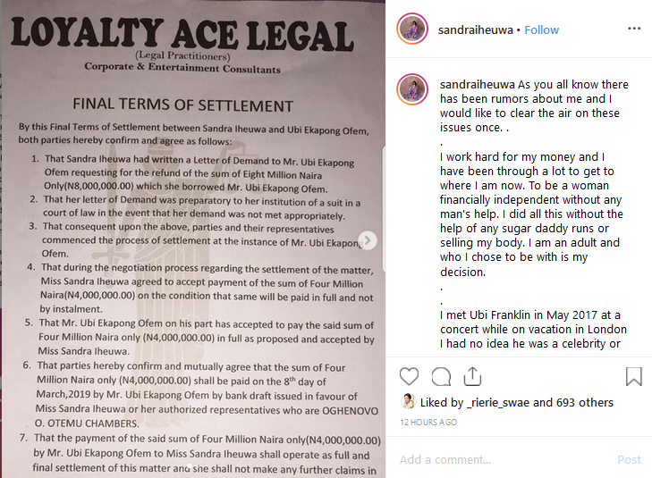 Screenshot 52 - HOT GIST: Triple MG CEO, Ubi Franklin Called Out By his 4th Baby Mama over Alleged Loan of N8Million