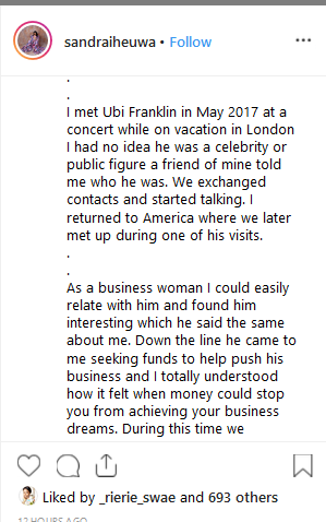 Screenshot 53 - HOT GIST: Triple MG CEO, Ubi Franklin Called Out By his 4th Baby Mama over Alleged Loan of N8Million
