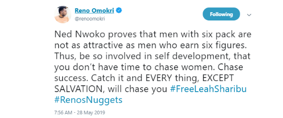 b 9 - 'Ned Nwoko is a proof that men with six figures are more appealing than men with six packs' – Reno Omokri
