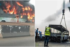 BRT Bus Goes Up In Flames On Third Mainland Bridge