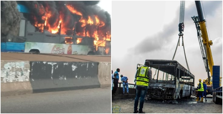 bus - Video: BRT Bus Goes Up In Flames On Third Mainland Bridge