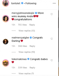 co 233x300 - What Mercy Johnson, Mercy Iagbe, Toke Makinwa And Co Are Saying After Tonto Dikeh Signed A N100m Deal
