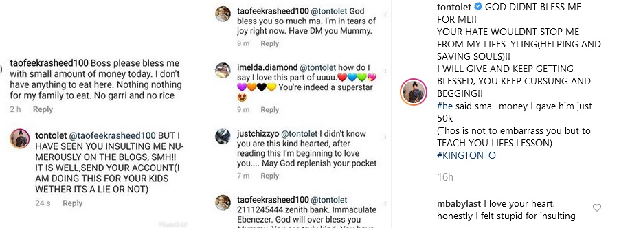 dik - GOD DIDNT BLESS ME FOR ME – Tonto Dikeh Says As She Gifts Troll Who Had Always Insulted Her 50k