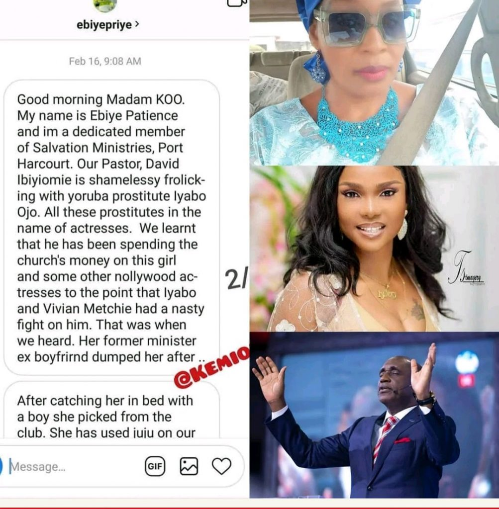 [Photos]: Kemi Olunloyo leaks private chats which showed Iyabo Ojo was dating Pastor Ibiyeomie