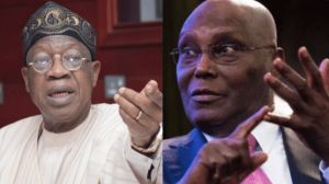lai atiku 300x168 - Atiku Calls For Immediate Arrest Of Minister For Information, Lai Mohammed