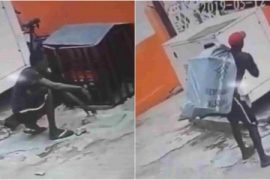 [Video]: Lol! Thief caught on CCTV trying to steal huge generator