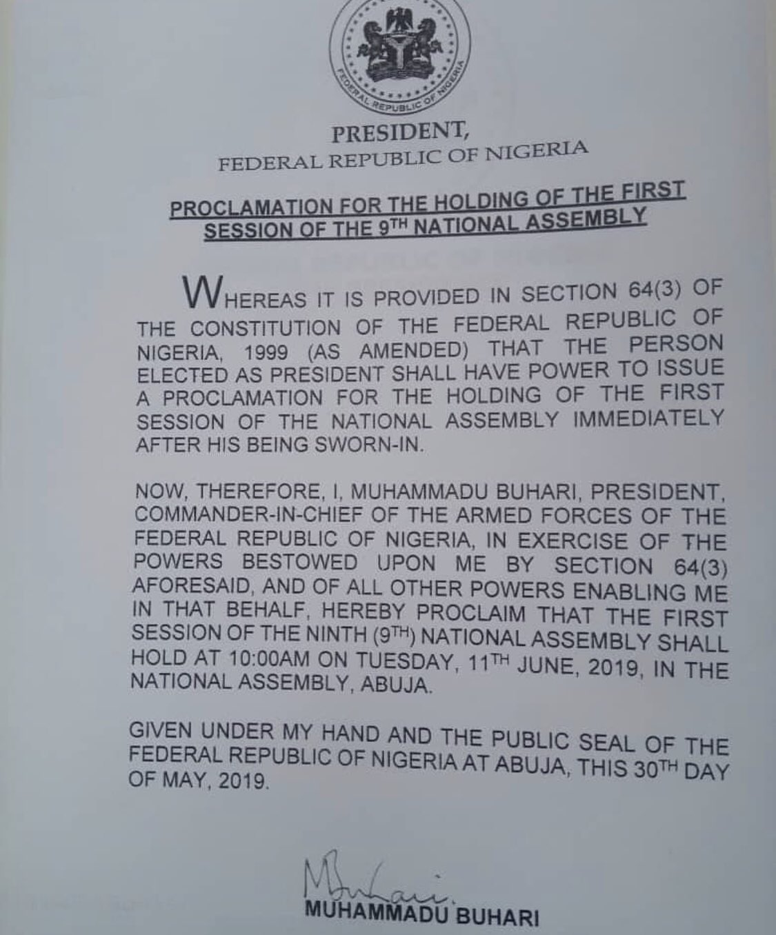 0 IMG 20190603 210412 - Breaking!!! Buhari declares 9th Assembly open