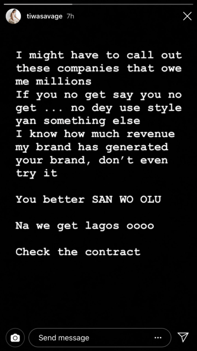 'Pay me my millions'- Tiwa Savage threatens to out companies owing her