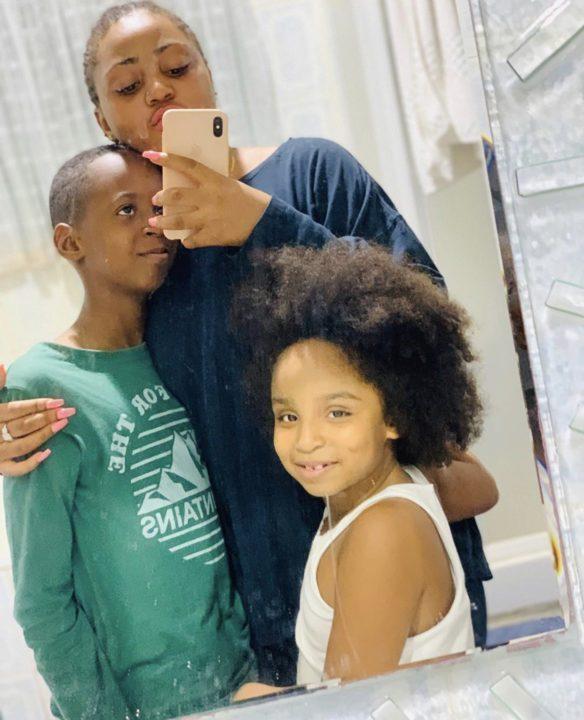44257E89 56E7 4741 A150 4C0EB678E3E3 - [Photos]: Regina Daniels poses with her step-kids, finally reacts to pregnancy rumors