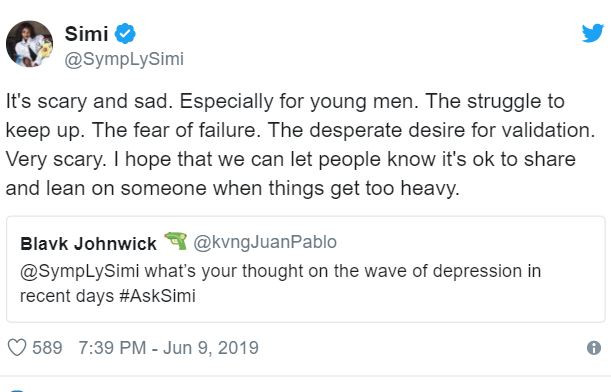 5cfe0269790d6 2 - 'Struggle To Keep Up Is Responsible For Depression' – Simi Speaks On Depression