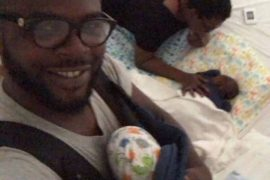 [Photos]: Funke Akindele shares new photos of her twins as she wishes husband JJC a Happy Father's Day
