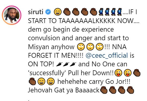 'Dem go experience convulsion if I start to dey talk about Cee-C now' - Uti Nwachukwu reacts to Cee=C's latest endorsement deal
