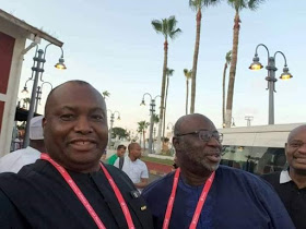 [Photos]: Senator Ifeanyi Ubah Visits Super Eagles In Egypt