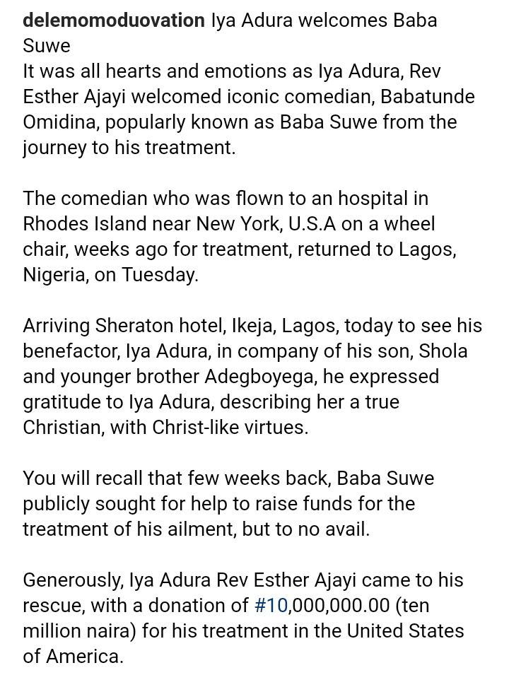 9533797 screenshot201906020423382 png745c2f13e97cce00f3ad19145cf61ff9 - Baba Suwe Visits Iyaadura Esther Who Gave Him N10 Million For Treatment [Photos]