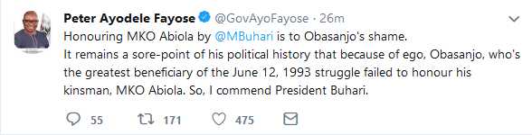 9617163 screenshot20190613twitter png5b2054106e119122485bc8dcdf8b0034 - 'Shame on You Obasanjo' – Fayose Commends Buhari