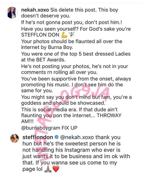 British singer, Steflon Don replies a Nigerian lady trying to poison her mind towards Burna boy