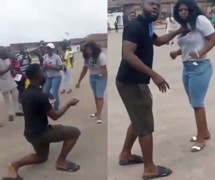 [Video]: Man beat his girlfriend for rejecting his proposal