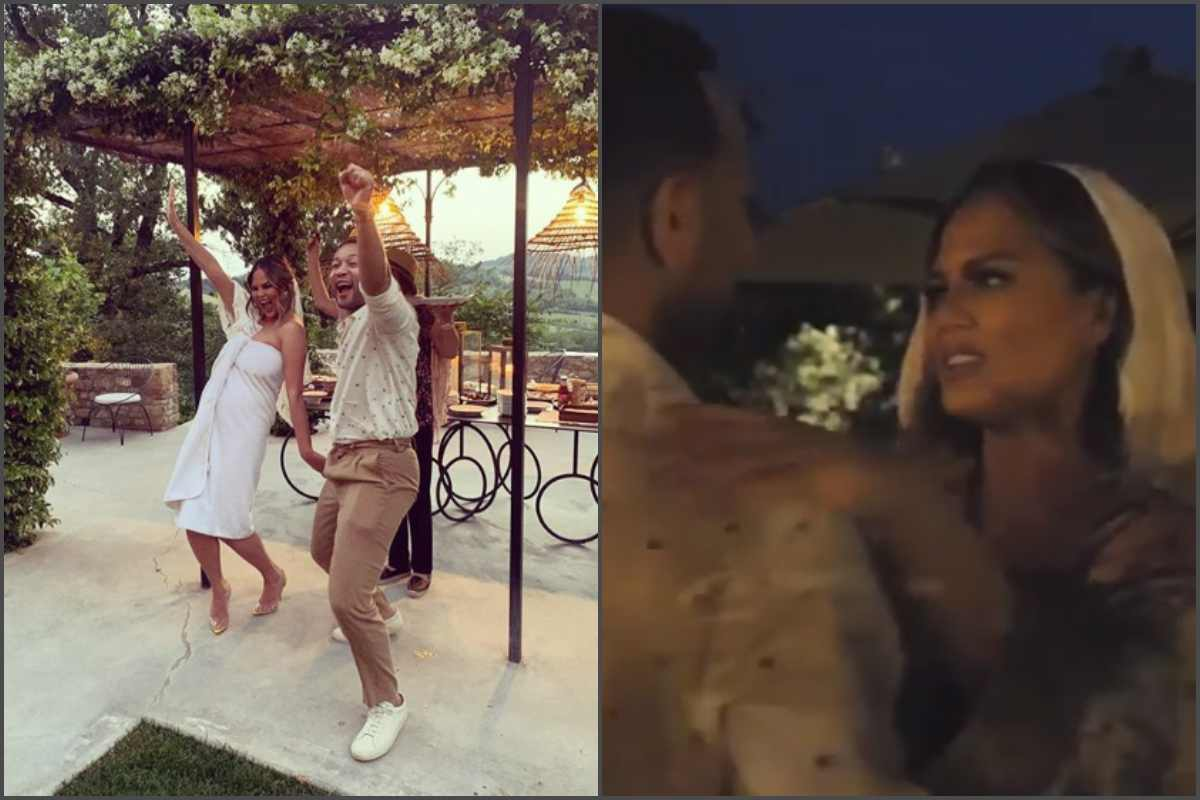 [Photo]: Chrissy Teigen wears a towel to renew her wedding vows