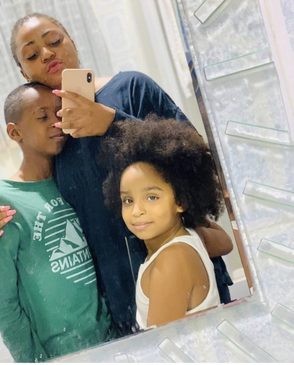 E66E9B33 BD1F 4375 9900 E7840B400F8F - [Photos]: Regina Daniels poses with her step-kids, finally reacts to pregnancy rumors