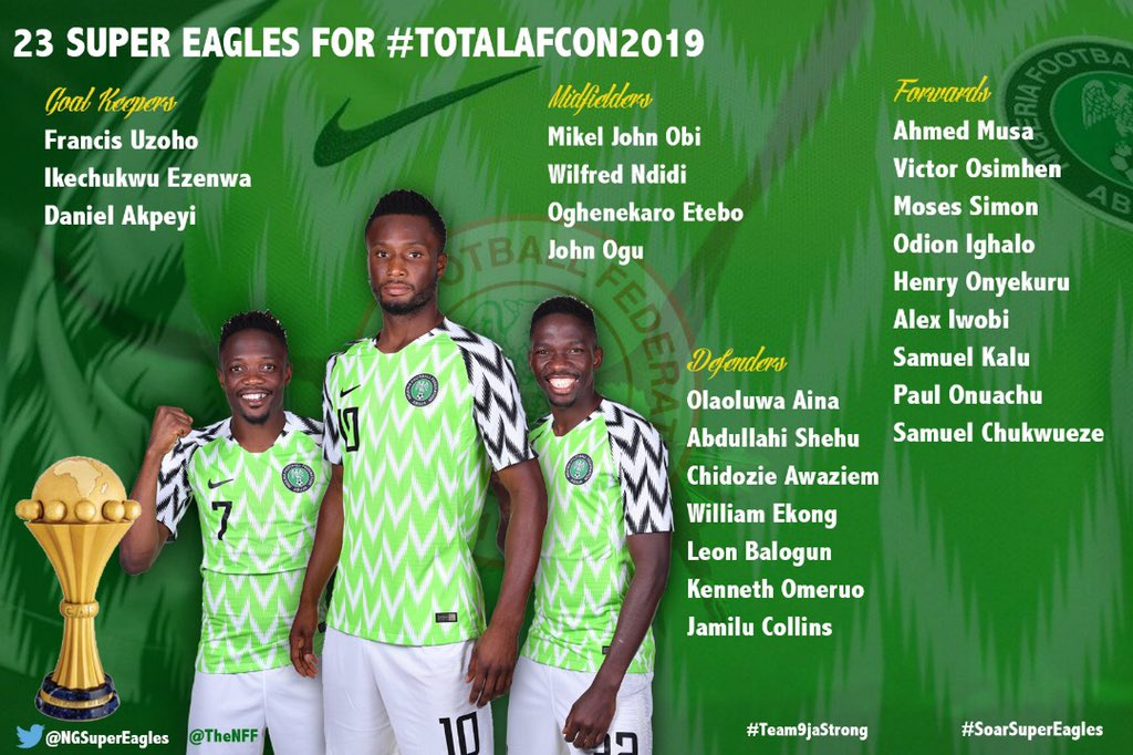 IMG 20190609 205449 - Super Eagles Head Coach, Gernot Rohr drops 2 players as he releases his final 23-man list