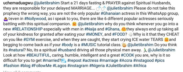 IMG 20190622 043643 918 - 'Spiritual Husbands Responsible For Your Delayed Marriage' – Uche Maduagwu To Juliet Ibrahim