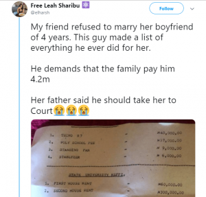 Man Demands N4.2m Refund From His Ex-Girlfriend Who Refused To Marry Him