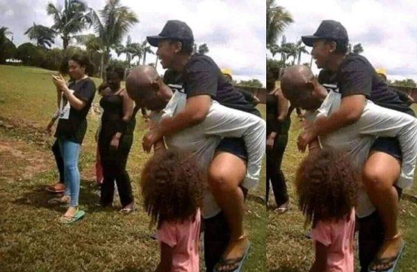 Ned Nwoko carries Regina Daniels on his back unclesuru 600x392 - Love In The Air: Ned Nwoko Carries Regina Daniels On His Back Playfully (Photo)