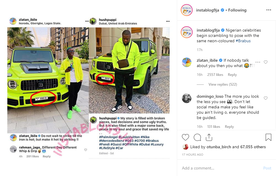 Screenshot 1 - Zlatan Ibile Replies Critics Who Blasted Him For Snapping With The Same Car As Hushpupi