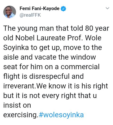 Screenshot 20190625 1530372 - 'It Is Not Every Right You Insist on Exercising' – Femi Fani-Kayode Reacts To Wole Soyinka's Airplane Saga