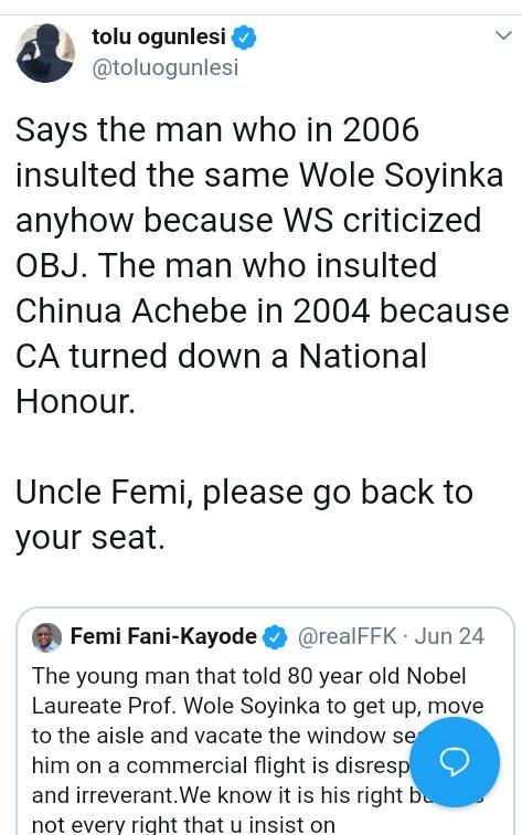 Screenshot 20190625 1808212 - 'Uncle Femi Go Back To Your Seat' – Tolu Ogunlesi Slams FFK
