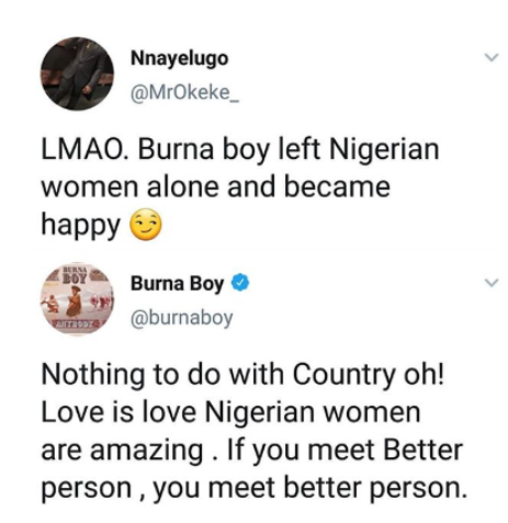 Screenshot 20190627 1539242 - Check out Burna Boy's apt response to Twitter user who said he left Nigerian women and became happy