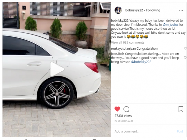 bobbenz 600x449 - #BENZO: Bobrisky Acquires A New White Mercedes Benz
